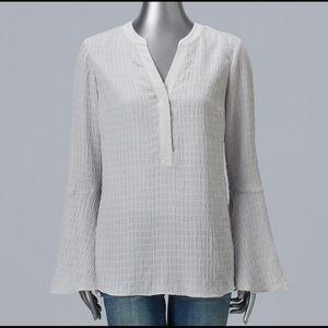 Vera Wang Tops - Vera Wang Bell Sleeve Henley Blouse.  NWT
